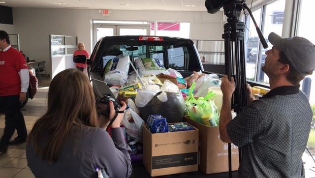 Local media Monday helped promote the relief efforts from United Way of Richland County to Houston and Florida at Joyce Buick GMC. New items including non perishable and personal hygiene products can be dropped off at the Park Avenue West dealership through Sept. 29.