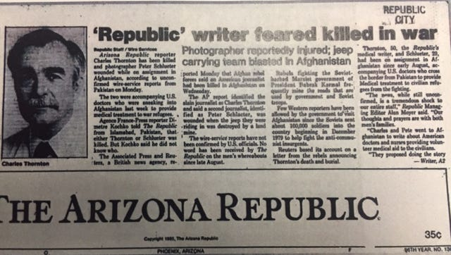 Front page of The Arizona Republic reporting Charlie Thornton's death.