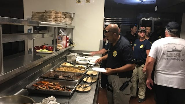 First responders have drinner at the Cheeca Lodge & Spa in Islamorada in the Florida Keys during Hurricane Irma.