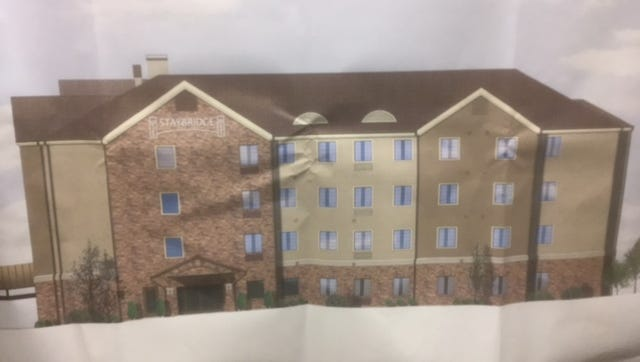 This Staybridge Hotel rendering is for a proposed project that would open on Fortress Boulevard and Bill Smith Drive near Interstate 24.