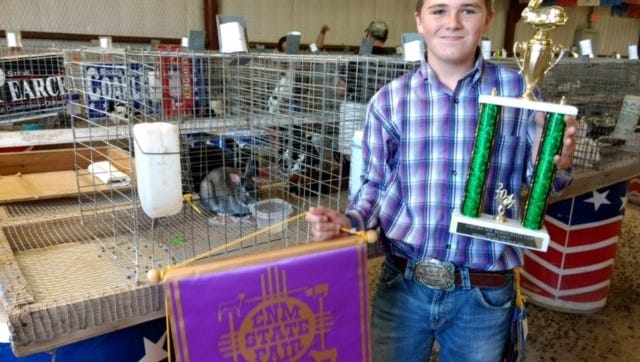 Wiley Miller shows his Grand and Reserve-winning rabbits at the Eastern New Mexico State Fair, which rain from Oct. 2 to 7 in Roswell.