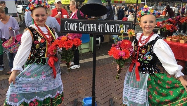 Costumed dancers provided a festive central european atmosphere to downtown Farmington.