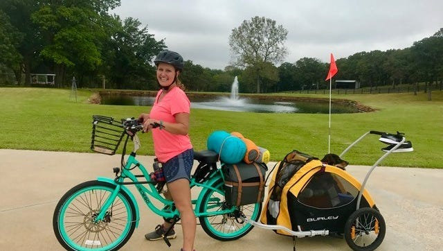 Lindsay Monroe, 35, who walked 3,200 miles across America from November 2016 to September 2017, will arrive at the Pedego Franklin electric bike store in Franklin, Tenn., on Saturday, Oct. 14.