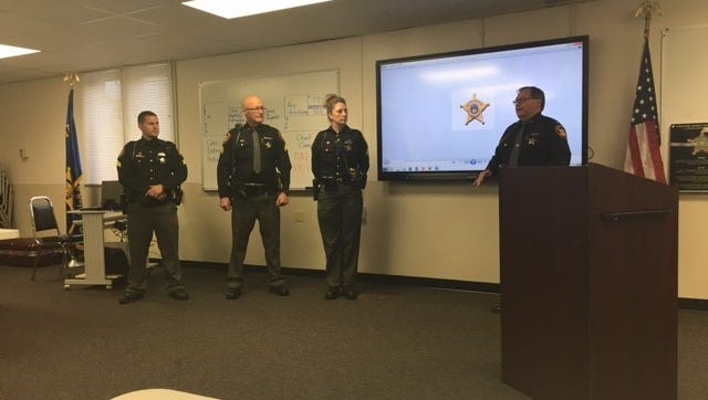 Three deputies were recently promoted to sergeant at the Richland County Sheriff's Office. Left to right: James Berry, Reginald Ganzhorn and Amber Alfrey. Media was invited Monday to the sheriff's office for Alfrey's swearing-in ceremony.