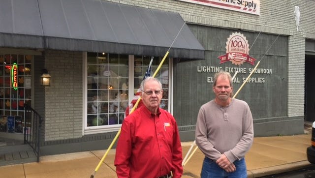 Jim Snyder and Jerry L. (JR) Shuler, co-owners of National Electric Supply, said the business is closing after 104 years in Mansfield.