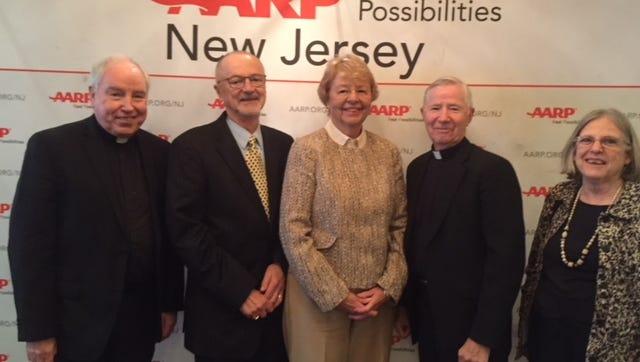 Barbara Devlin flanked by members of AARP-NJ, Rev. Msgr. Sean P. Flynn, Dr. Ron Geiger, Msgr Casimir H. Ladzinski, CVCJ volunteer Charlotte Alderfer