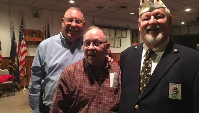 Four members of the St. Peter's High School Class of 1969 joined the U.S. Marine Corps together after high school graduation: left to right, Dan O'Brien, Chris Fisher and Ron Dillon. Terry Lee, not pictured, also joined the Marines. The AMVETS Post 26 celebrated the 242nd anniversary of the Marine Corps Friday night.