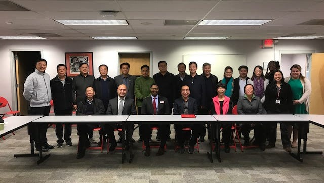 Members of the Chinese delegation and Union County College administration and staff.