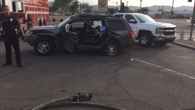 Four people, including 3 children, were hurt in a crash involving a garbage truck Monday.