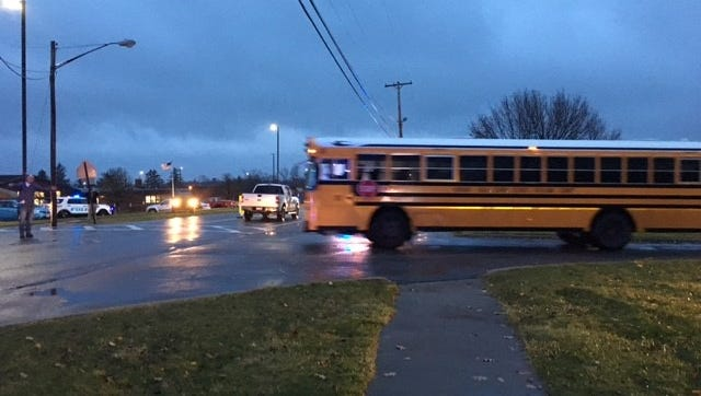 A pedestrian, apparently a teen student, was struck by a pickup truck as he crossed Shelby-Ontario Road in front of Ontario High School Tuesday after 7 a.m.