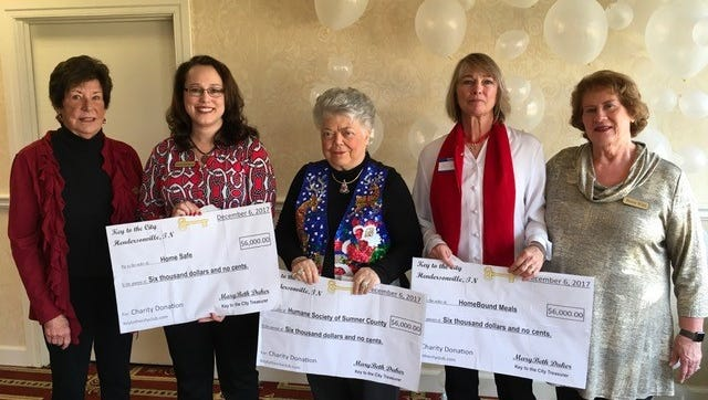 Key to the City Club treasurer MaryBeth Duker (left) and president Bessie Wiles (right) recently presented checks to Scarlet McGlasson of HomeSafe, Sandra Cherry of the Humane Society of Sumner County and Cari Lou Westerdorf of Homebound Meals.