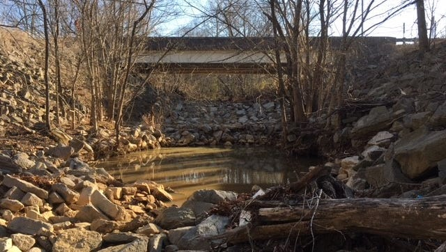 Cypress Creek, shown here at the Tenn. 194 bridge in Oakland, continues to erode its banks and bed as a result of channelization work conducted a century ago.