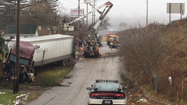 A semi driver drove his big rig off U.S. 30 east down a hill onto Crestline Road off Bowman Street Road Monday around 6 a.m. The driver fortunately was not hurt nor was anyone who lives on the street. FirstEnergy was on scene around 11 a.m. restoring power.