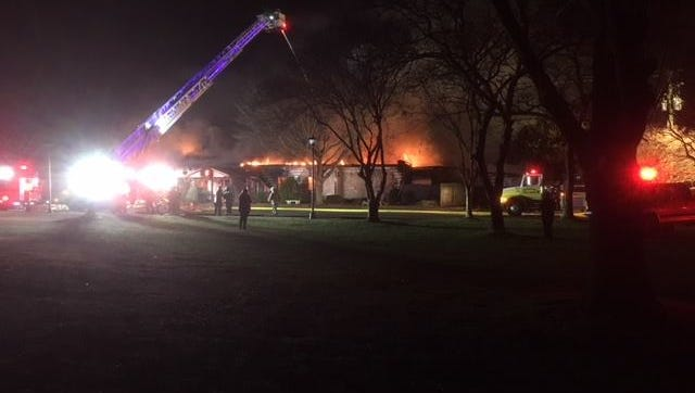 The Eastern Shore Yacht and Country Club in Melfa, Virginia sustained heavy damage in a fire on Friday, Dec. 22, 2017.