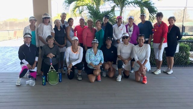 The Boulevard Tennis Club hosted the fourth annual Charity Tennis Fundraiser benefiting The Hibiscus Children's Village Center in Vero Beach. The Indian River County Women's Tennis Association enjoyed three rounds of tennis followed by a luncheon provided by The Boulevard. All of the participants donated a wrapped present for a child at the Hibiscus Center. Pictured are, from left, kneeling: Liz Keegan, Sharon Milliman, Kathy Zanon, Rosa Hollis, Kim Stewart, Emily Sherwood, and Debbie Caldwell. Standing: Linda Johnson, Linda Kouns, Marge Randazzo, Sally Fish, Betsy Sturgis, Carol Haffield, Lana Hinds, Mary Kritz, Alison Mays, Nannie Hoehn, Charlotte Walters, Scott Studley, and Emily Bullard. Not pictured: Gloria Pappalardo, Katie Oess and Christine Pitcher. This year, Gracie Levelston, a Vero Beach junior tennis player involved in the Mardy Fish Foundation program, also was included as a gift recipient.