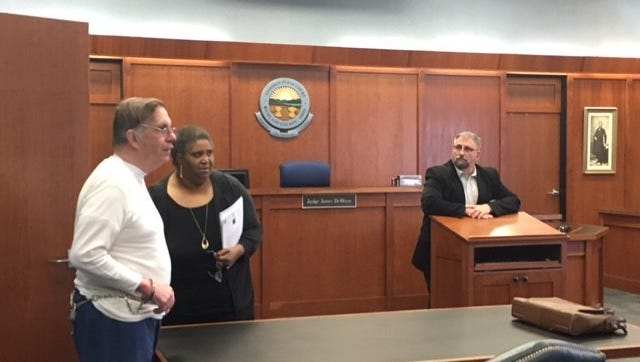 Richland County Common Pleas Judge James DeWeese Thursday granted Clyde Shaffer, at left, judicial release after he served six years of a seven-year prison sentence for shooting his wife and leaving her paralyzed from the waist down.
