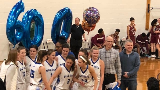 Coach Kevin Harper immediately following his 600th career win as a varsity basketball coach Dec. 27 at the Dunellen Holiday Tournament when the Middlesex Blue Jays beat the Highland Park Owls 67-9.