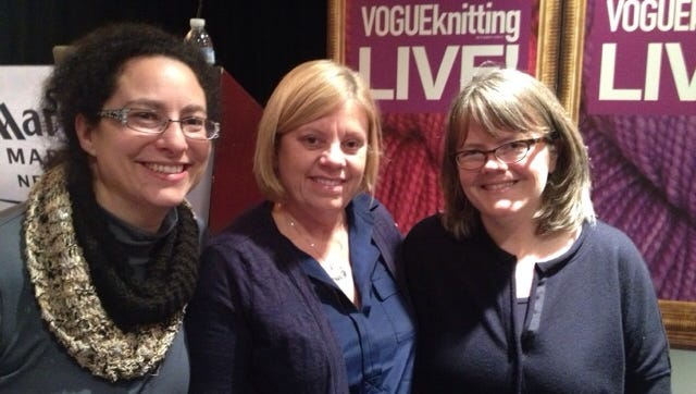 Here are my friends, Liz Lande, left, and  Karen Katz with Clara Parkes at Vogue Knitting Live in NYC a couple of years ago. Watch for my interview with her at this year's VKL in a couple of weeks.