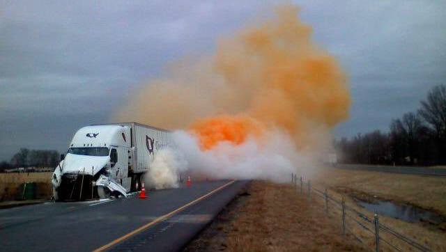 A three semi crash in Jackson County includes a HAZMAT spill on I-65.