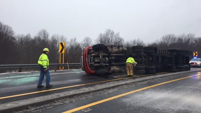 A tractor-trailer rolled over at around 8:15 a.m. Wednesday at the U.S. 30 northbound ramp onto Interstate 71. The driver was transported to OhioHealth Mansfield Hospital. The crash was not believed to be weather related, according to the Mansfield post of the Ohio Highway Patrol.
