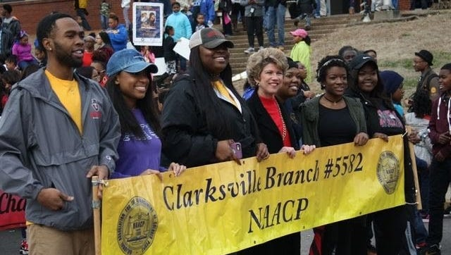 Clarksville Mayor Kim McMillan marches in a recent MLK Day event.