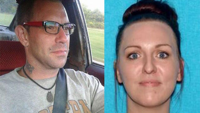 Investigators believe Kristin Denise King, 31, right, to be with Ronnie Lucas Wilson, 31, left, who was added to Tennessee's Top 10 Most Wanted list on charges of opening fire on a Knoxville Police Department officer during a traffic stop Thursday night.