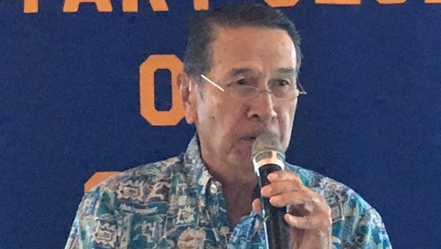 Frank Shimizu, president and CEO of Ambros Inc., gives a speech to the Rotary Club of Guam Jan. 25 at the Pacific Star Resort & Spa.