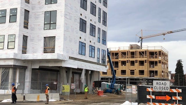 Construction continues on downtown Loveland's redevelopment project The Foundry on Thursday, Jan. 25, 2018.