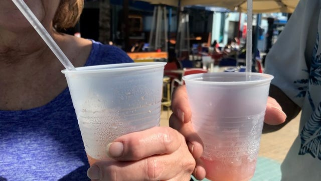 For the most part plastic straws were absent from Fort Myers Beach on Sunday, the first day of an official ban on them This couple, from Iowa, had wandered away from a Fort Myers Beach bar with mixed drinks, complete with plastic straws, a double whammy since such alcoholic drinks are not allowed to be consumed outside where they are bought.
