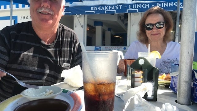 In February 2018, Dan DeMeester and Gina Zerilli, both of Michigan, lunched at Plaka on the first day of a ban on plastic straws on Fort Myers Beach. Both liked the idea of the ban.