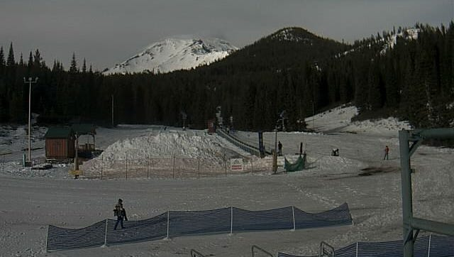 This is a view from the ski park's webcam. The park was forced to close again Sunday due to warm weather.