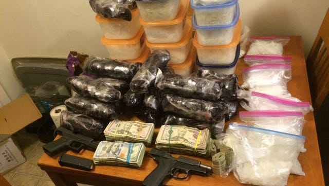 Clackamas County and Interagency Task Force  shows the seizure of 63 pounds of methamphetamine, two firearms and cash in 2016.