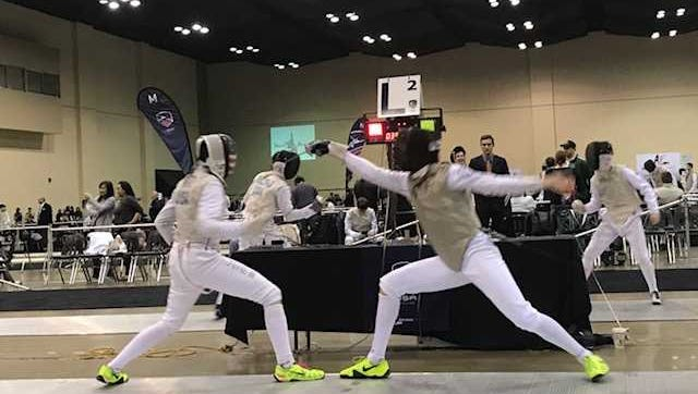 David Tierney, right, a sophomore at Barron Collier, finished eighth out of 283 fencers in the cadet foil division at the Junior Olympics in Memphis, Tenn. last weekend.