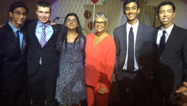 "The Somerset County High School Democrats are calling upon political leaders to take ""common sense"" action to combat school violence. Pictured are organization members Parth Darji, Nick Sokol, Megha Tandon, Congresswoman Bonnie Watson Coleman, Varun Seetamraju and Jason Lam."
