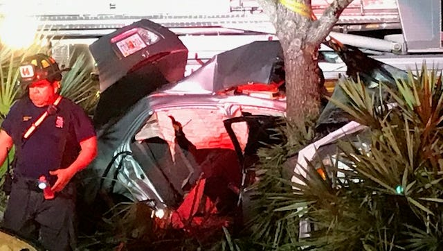 A one-car crash Saturday night along Corkscrew Road in Estero sent two people to the hospital.