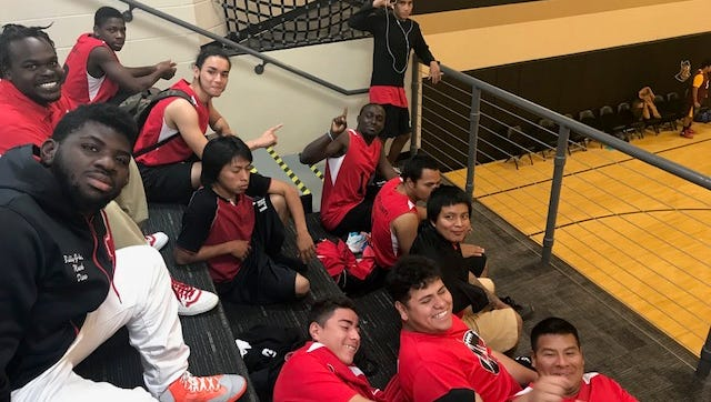 The Immokalee Unified Champion Schools basketball team hangs out before a recent game. Immokalee takes on Golden Gate in the state championship game Thursday at the Lakeland Center.
