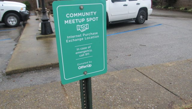 OfferUp donated this sign to Huntingdon Department of Public Safety as they open their parking lot to Internet exchanges.