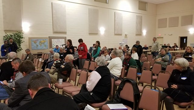 People in line to speak about offshore wind at St. Peter's Lutheran Church in Ocean City March 3, 2018.