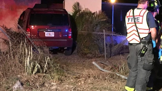 A Jeep SUV crashed into a home on Delta Street SUnday evening. No injuries were reported.