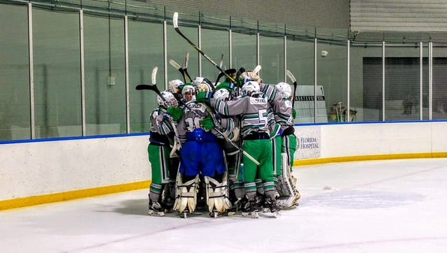 The Junior Blades ELITE hockey team celebrate their divisional championship win over the Florida EELS this past weekend. The Junior Blades squad qualified for the United States Premier Hockey League (USPHL) championships in Boston, which start Wednesday morning.