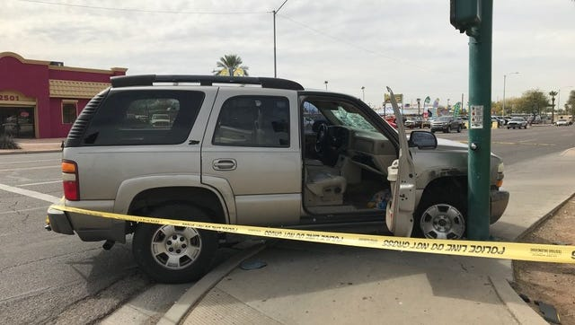 Police say a man used this vehicle to flee from officers before crashing it and carjacking another vehicle near 35th Avenue and Van Buren Street in Phoenix on March 7, 2018.