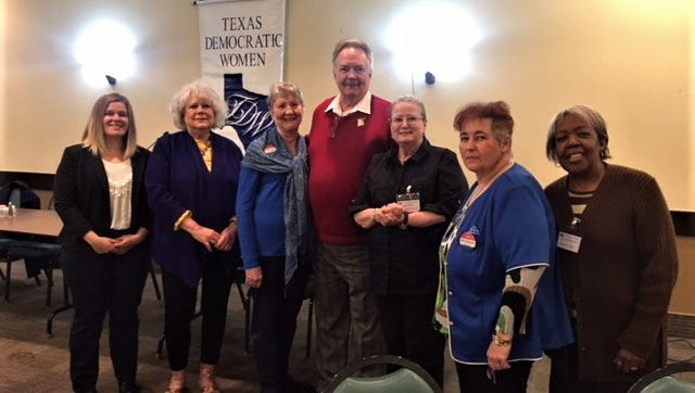 Members of the Wichita Falls Area TExas Democratic Women welcomed candidates for in the November election to their monthly meeting. Pictured, left to right: Catie Robinson, candidate for County Commissioner pct 4; Janel Ponder Smith, newly elected Wichita County Chair; Dianne Sagan, wife of speaker, Greg Sagan, candidate for 13th Congressionial District; Carolyn Harmon, president of TDW; Natalie Cole, secretary and Barbara Reed Vice president/program chair.  Dianne Sagan and Greg Sagan were our speakers for the March meeting of Texas Democratic Women of the Wichita Area.