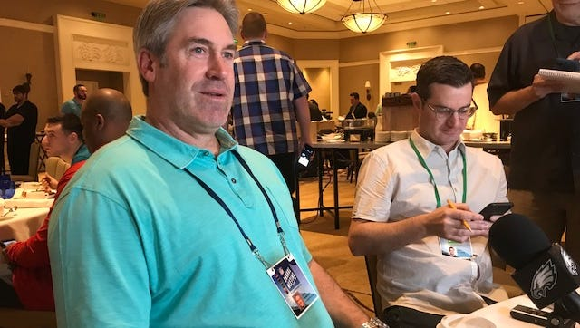 Eagles coach Doug Pederson said he's encouraged about Carson Wentz's progress in recovering from a torn knee ligament.