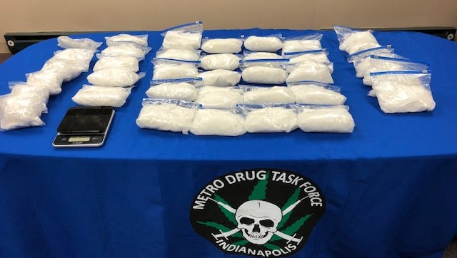 Indianapolis police seized31 pounds of methamphetamine and three poundsof cocaine from a west-side home. Irma Victoria Gomez-Cortez,49,and her son Michael Olvera-Gomez, 20, were arrested after they sold drugs to undercover officers, polcie said.