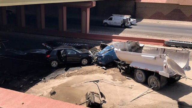 This multivehicle crash at Interstate 10 and Trans Mountain Road left severe damage in its wake and shut down the freeway and several other roads Thursday.