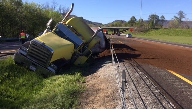A hazardous material spill from a overturned tractor trailer has caused lane closures on I-75 near mile marker 134 in Campbell County on Friday afternoon, April 20, 2018