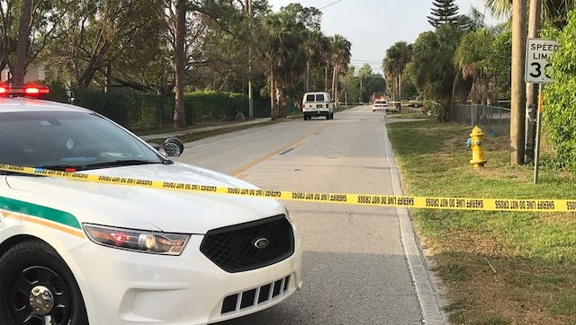 Lee County Sheriff's Office cruisers guard a section of Matheson Avenue in Bonita Springs where a homicide occurred late Saturday night. No details were available.