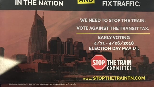 An ad paid for by Americans for Prosperity urged the defeat of Nashville's transit referendum.