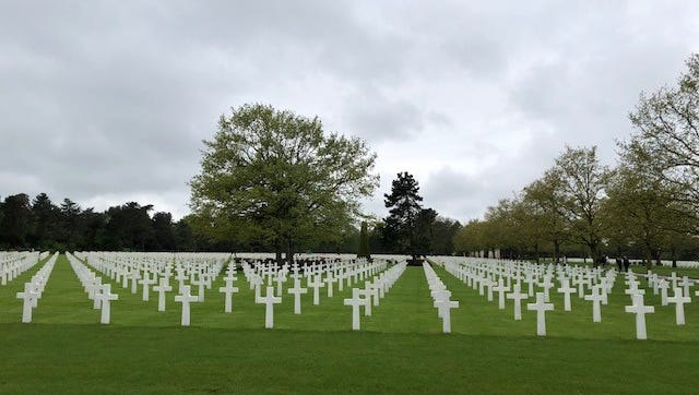 View of the Normandy American Cemetery in Colleville-Sur-Mer, France.