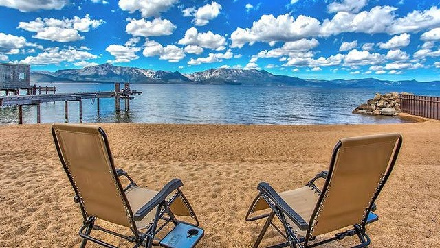 This Zephyr Cove home in Lake Tahoe, Nev., has sprawling, lawns, and other water features.